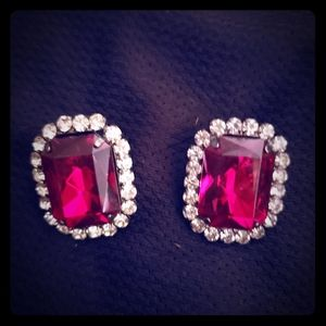 Express ruby studs with rhinestones